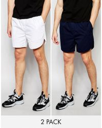 ASOS - Chino Shorts With Elasticated Waist In Navy/ White 2 Pack Save 17% - Lyst