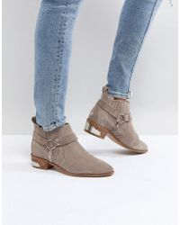 Office - Atlas Taupe Suede Western Ankle Boots - Lyst