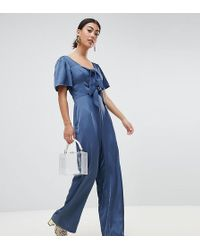 3217d8e87f1 Lost Ink - Jumpsuit With Scoop Neck And Bow Front - Lyst