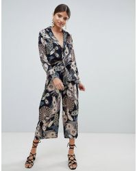 Missguided - Peacock Feather Print Cullottes - Lyst