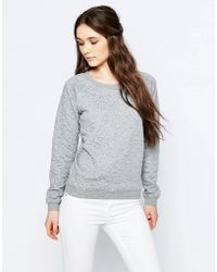 Sugarhill - Betty Heart Embossed Sweatshirt - Grey Marl - Lyst
