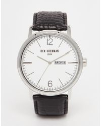 Ben Sherman Portobello Leather Watch In Black