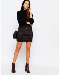 Wal-G - Suedette Skirt With Button Front - Lyst