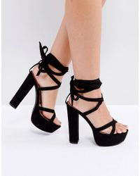 Truffle Collection - Tie Ankle Platform Sandal - Lyst