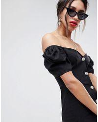 ASOS - Design Linen Off Shoulder Mini Dress With Tortoiseshell Buttons - Lyst