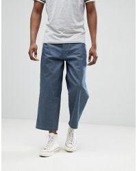 DESIGN Wide Leg Cropped Jeans In Indigo - Indigo Asos KaljwQCF