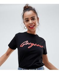 ASOS - Asos Design Petite T-shirt With Gorgeous Print In Black - Lyst
