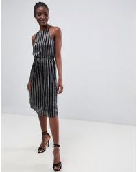 Warehouse - Halter Neck Midi Dress In Metallic Stripe - Lyst