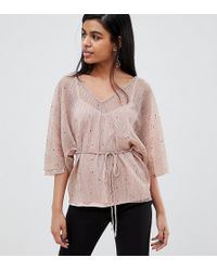 River Island - Plisse Blouse With Tie Waist In Pink - Lyst