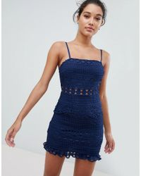 Love Triangle - Square Neck Detail Mini Dress In All Over Crochet - Lyst