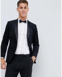 French Connection - Velvet Slim Fit Peak Lapel Jacket - Lyst