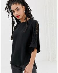 New Look - Embellished Sleeve Blouse In Black - Lyst