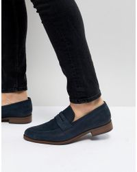 Dune - Penny Loafers In Blue Nubuck - Lyst