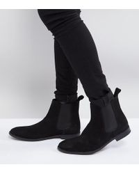 ASOS - Wide Fit Chelsea Boots In Black Suede - Lyst