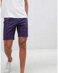 ASOS - Slim Shorts In Navy Windowpane Check - Lyst