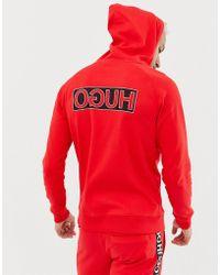 HUGO Darti Reverse Back Logo Hooded Sweat In Red
