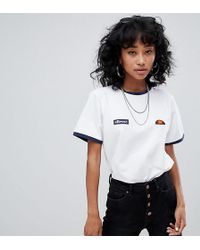 Ellesse - Ringer T-shirt With Embroidered Chest Logo - Lyst