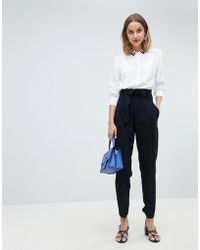 Mango - Paper Bag Waist Tapered Trouser - Lyst