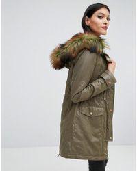 Lipsy - Faux Fur Hood Trim Parka - Lyst