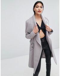Lipsy - Wrap Front Coat - Lyst