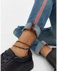ASOS - Leather Anklet In Black - Lyst