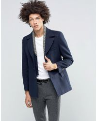 Féraud - Gianni Premium Reefer Coat With Detachable Geo Knitted Insert - Lyst