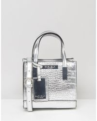 Carvela Kurt Geiger - Metallic Mock Croc Mini Cross Body Bag - Silver - Lyst