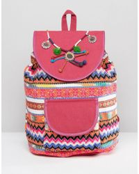 Glamorous - Bright Print Backpack With Pom & Tassel Detail - Lyst