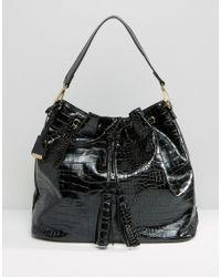 Glamorous - Drawstring Backpack In Moc Croc - Lyst