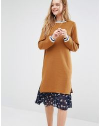 I Love Friday - Jumper Dress With Pleated Floral Skirt And Contrast Tipping - Mustard - Lyst