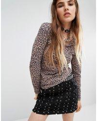Tripp Nyc - Leopard Printed Mesh Top - Lyst