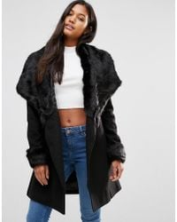 Lipsy - Michelle Keegan Loves Luxury Wrap Coat With Faux Fur Trim - Lyst
