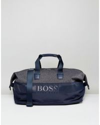 BOSS Green - By Hugo Boss Mixed Fabric Holdall Navy - Lyst