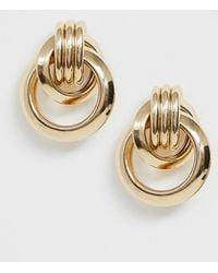 Pieces - Gold Door Knocker Earrings - Lyst