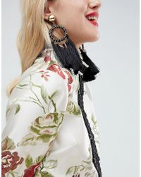 ASOS - Statement Woven Open Circle Tassel Earrings - Lyst