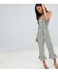 ASOS - Asos Design Tall Cotton Frill Hem Jumpsuit With Square Neck And Button Detail In Stripe - Lyst