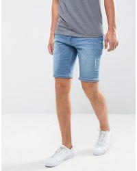 ASOS - Denim Shorts In Skinny Smokey Blue With Rip And Repair Detail - Lyst