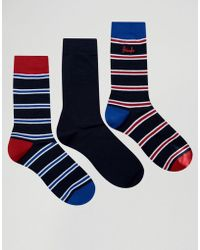 Pringle of Scotland - Stripe Socks In 3 Pack Navy - Lyst