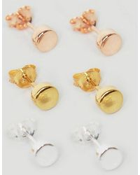 ASOS - Sterling Silver Plug Style Earring Pack In Mixed Plating - Lyst
