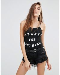 Pull&Bear - Body With Thanks For Nothing Slogan - Lyst