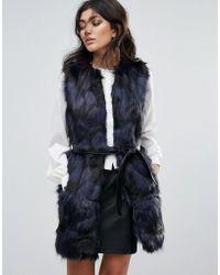Forever Unique - Faux Fur Belted Gillet - Lyst