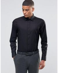 Number Eight Savile Row - Skinny Smart Shirt With Bib Front - Lyst