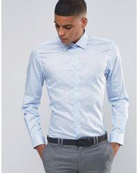 Number Eight Savile Row - Skinny Smart Shirt In Polka Dot - Lyst