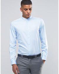 Number Eight Savile Row - Skinny Grandad Shirt With Stripe - Lyst