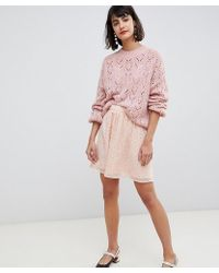 Pieces - Embellished Mini Skater Skirt In Pink - Lyst