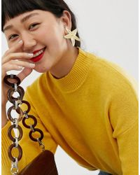 ASOS - Earrings In Statement Starfish Design In Gold - Lyst