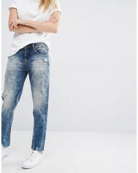 Blank - Boyfriend Jeans With Distressed Raw Hem - Thrift Store Blue - Lyst