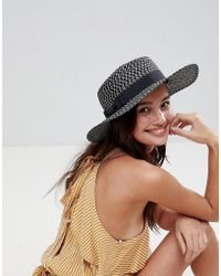 ASOS - Straw Boater With Bow Detail In Mono - Lyst