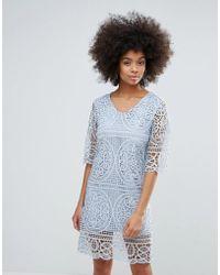 Darling - 3/4 Sleeve Crochet Lace Shift Dress - Lyst