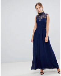 9b347671 Little Mistress - High Neck Maxi Dress With Gathered Bust And Gold Foiled  Lace Yoke -